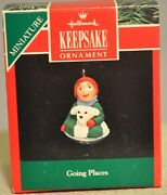 Hallmark - Going Places - Boy And Puppy On Round Snow Sled - Miniature Ornament