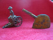 2 Antique Army Military Metal Cast Toys
