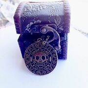 Pirates Of The Caribbean Aztec Coin Medallion Necklace And Treasure Box