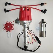 Big Block Chevy 348 409 Pro Series Red Small Cap Hei Distributor + Chrome Coil