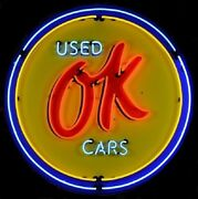 Chevrolet Ok Used Cars Neon Sign - Chevy Dealer - Gm - Massive 36 - Metal Can