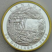 2015 20 Tom Thomson Artist Spring Ice 1 Oz Pure Silver Proof Gold Plating