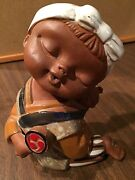 "Vintage ULH Japan 6"" Art Pottery Partial Glazed Clay Sculpture Girl With Baby"