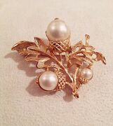 Vintage Signed - Avon - 1960s White Magnolia Faux Pearl And Gold Plated Brooch