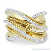 0.52ct Round Cut Diamond 14k Yellow And White Gold Right-hand Overlap Fashion Ring
