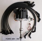 Ford Small Block 221,260,289 And 302 Black Hei Distributor + Spark Plug Wires Usa