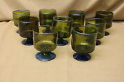 Set Of 9 Vintage Mid-century Modern Hand Blown Glass Footed Olive Green Tumblers