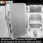 Aluminum Performance Radiator For 99-00 Civic Si 94-01 Integra Manual Only