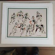 1990's Philadelphia Eagles Matted Print Signed By Jerry Thierolf 18 Of 25 Rare