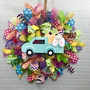Easter, Spring, Bright, Pink, Blue, Yellow, Fun, Whimsical, Deco Mesh Wreath
