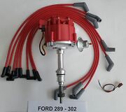 Ford 221 260 289 302 Red Hei Distributor + 8mm Spiral Core Spark Plug Wires Usa