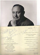 Arthur Freed - Mgmand039s Top Producer - Signed Cruise Ship Menu With 8x10 Photo