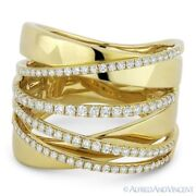 0.61ct Round Cut Diamond Right-hand Overlap Fashion Wrap Ring In 14k Yellow Gold