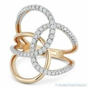 0.54 Ct Round Cut Diamond Right-hand Loop Fashion Ring In 14k Rose And White Gold