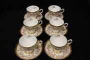 Set Of 6 Vintage Gold Tuscan Fine English Bone China Cups And Saucers Hand Painted