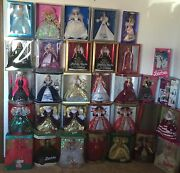 Large Barbie Collection - Lot Of 31 Barbie Dolls Holiday And Other Collections