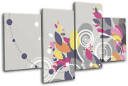 Floral Swirls Vector Abstract Multi Canvas Wall Art Picture Print Va