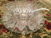 Vintage Antique Cambridge Glass Cascade Pattern Punch Bowl Set 12 Cups And Tray