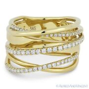 0.54 Ct Round Cut Diamond Right-hand Overlap Loop Wrap Ring In 14k Yellow Gold