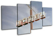 Motel Sign America Vintage Multi Canvas Wall Art Picture Print