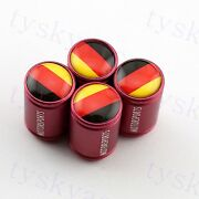 Red Round Tire Valve Caps Wheels Air Cover Germany Flag Car Accessories Garnish