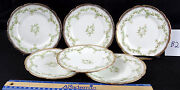 Mercer Gold Trimmed Semi-vitreous China Floral Pattern 6 Plates Set Of 6 B2