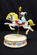 Vintage Hand Painted Willits Peanuts Snoopy And Woodstock Musical Carousel Horse