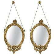 Pair Of 19th Century Mirror Oval Sconces 101-6468