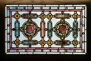 Antique American Stained Glass Window W/chunk Jewels Likely By Rudy Bro.