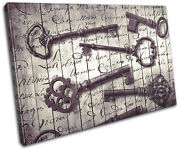 Keys Old Shabby Chic Vintage Single Canvas Wall Art Picture Print