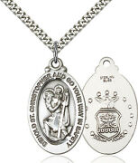 Men's Sterling Silver St Christopher Air Force Military Catholic Medal Necklace