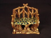Very Rare 1800s Twig Bench Blue Green And Brown Glaze Whieldon Yellow Ware Mint