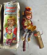Rare 1950s Alps Battery Operated Friendly Jocko Monkey Toy In Box