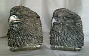Vintage Eagle Bookends Pair Cast Pewter Metzke Stamped Dated Vintage Usa Quality