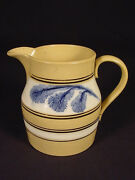Rare 1800s 2 Color Blue And Brown Mocha Banded Pitcher Mochaware Yellow Ware Mint