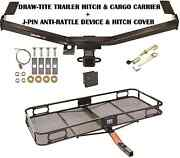 2011-2014 Ford Edge Trailer Hitch + Cargo Basket Carrier + Silent Pin Lock Tow