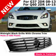 For Infiniti 08-13 G37 And 14-15 Q60 Coupe Front Bumper Hood Grille Midnight Black
