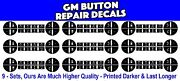 9 Sets Gm Chevrolet Acadia Traverse Button Repair Decal Sticker Climate Control