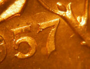 Double 57 + Hanging 7 1957 One Cent Choice Bu