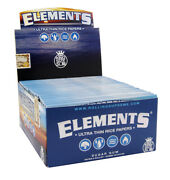 1 Box 50x Elements King Size Slim Papers Blandaumlttchen Aus Reis Rolling Papers