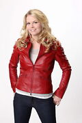 Once Upon A Time Jennifer Morrison Emma Swan Ladies Red Sheep Leather Jacket