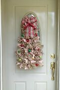 Christmas Winter Red Gold Ribbon Ornaments Deco Mesh Welcome Door Wreath