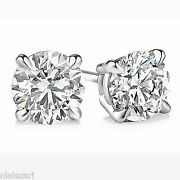 .91 Carat Diamond Stud Earrings Round Cut D Color Si1 Clarity 14k White Gold