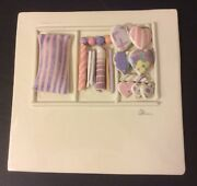 Ceramic Sculptured Pastel Hearts Love Wall Tile Hanging Signed By Artist Pink
