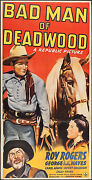 Poster Bad Man Of Deadwood 1941 3 Sheet 40x79 Fn+ 6.5 Roy Rogers Gabby Hayes