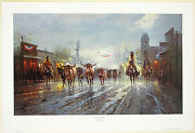 G Harvey Cowboyand039s Payday Lithograph Signed Numbered Limited Edition Paper Print