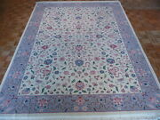 9 X 12 Hand Knotted Ivory Persian Fine Kashan Design Oriental Rug G345