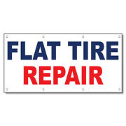 Flat Tire Repair Blue Red Auto Car Repair Shop Vinyl Banner Sign With Grommets