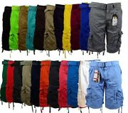 Menand039s Cargo Shorts With Belt Focus 32 34 36 38 40 42 44 Casual Short Black Red