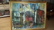 Large Oil On Canvas By Stanley Sobossek1918-1996 Edge Of Town - Signed On Back